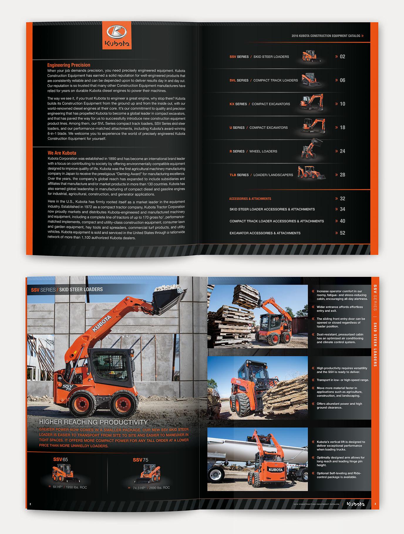 Kubota contruction equiplment catalog spreads